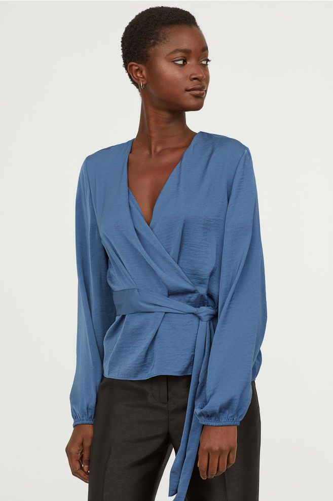 f3161693f48 Wrap-front Tie-belt Blouse in 2019 | sartorial inspiration | Blouse ...