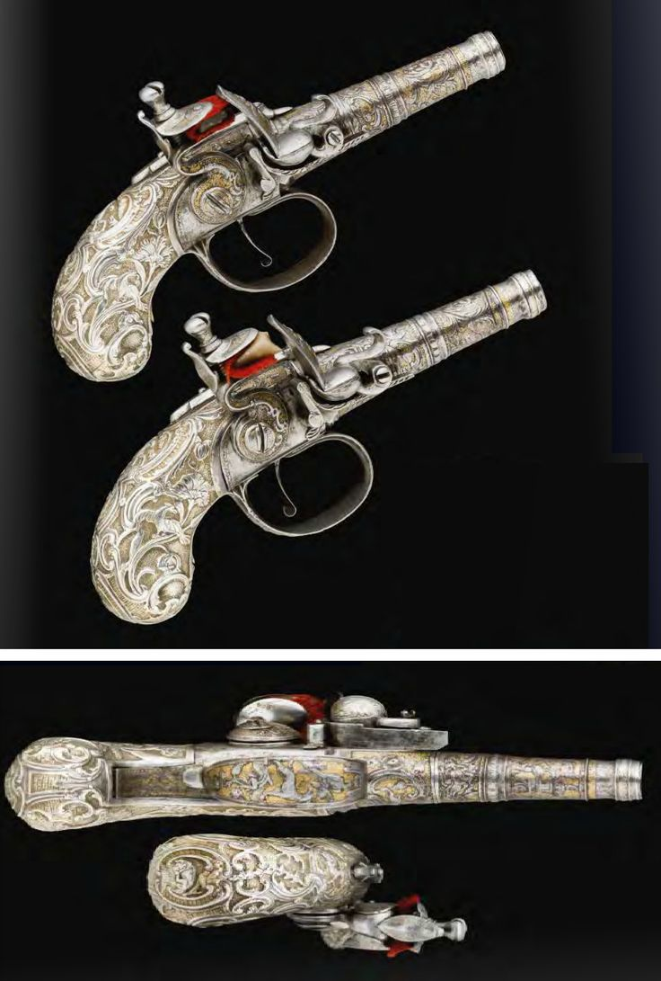 A fine pair of 80 bore continental silver-mounted flintlock pocket pistols, ca 1740, probably Liege.