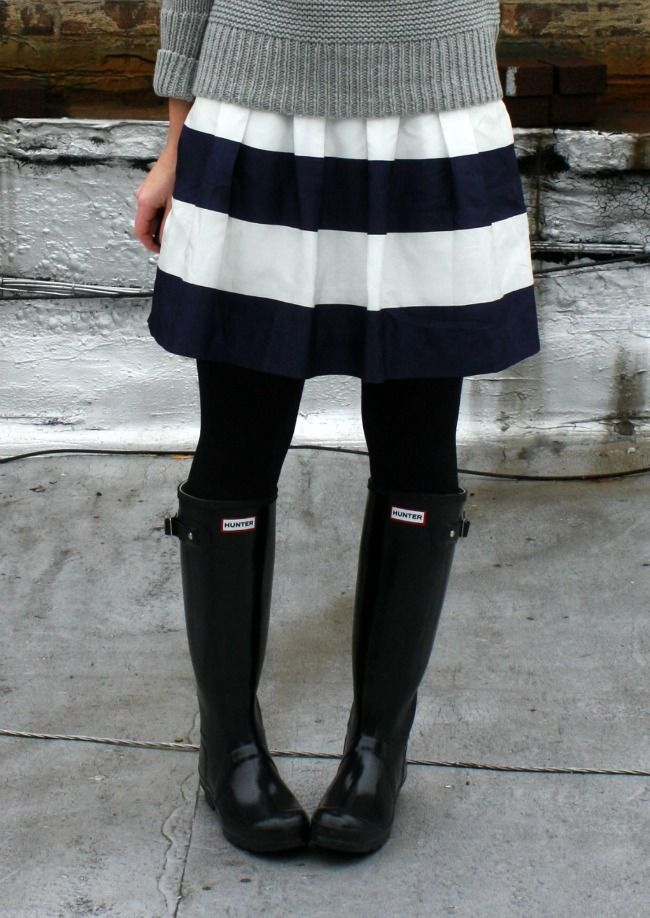 TheRightShoesBlog striped skirt + hunter wellies