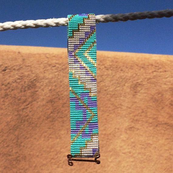Turquoise lavendel Bead Loom armband Boheemse Boho