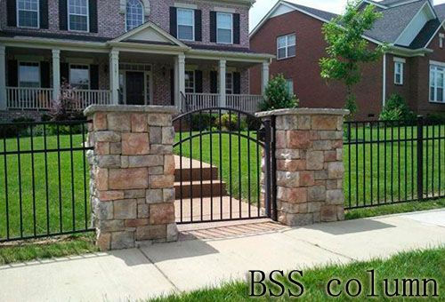 Simple Stone Columns With Iron Fence Fence With Stone