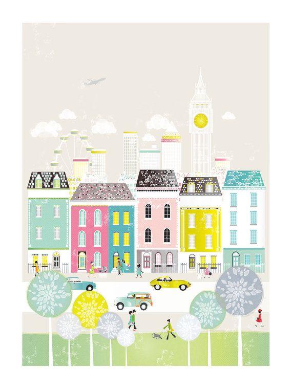 London City Art Print / Cityscape Art Print / by lauraamiss
