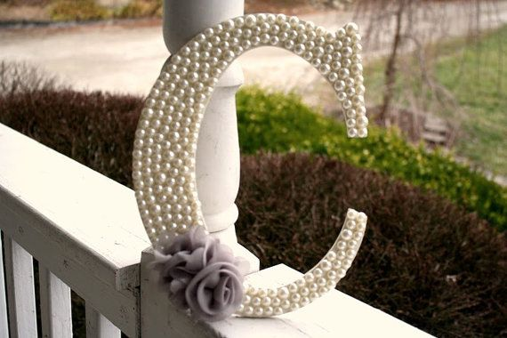Pearl Embellished Wooden Home Decor Letters With Flower Applique