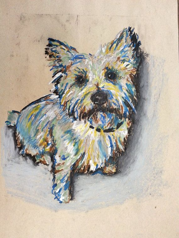 Rosie Cairn Terrier by contessabrooke on Etsy, $25.00  Drawn with oil pastels.  Ha she's my little toto