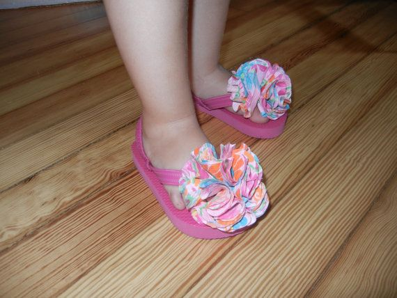 Toddler Flip Flops with fun fabric flowers by RubyRedHandmade, $10.00