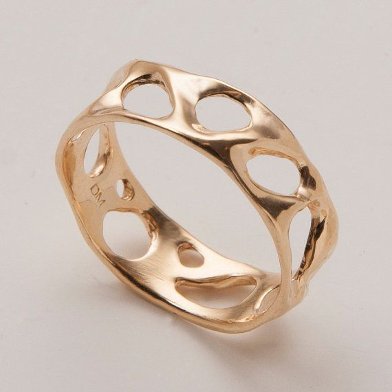 Bio G - 14k Gold Ring , Wedding Ring , Unisex Ring , Wedding Band , Mens Ring