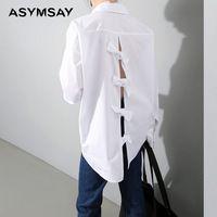 Женская одежда новая Коллекция Весна спинки бантом свободные белая рубашка с длинным рукавом Платья Женские Бабочка Узел Женщин Рубашка