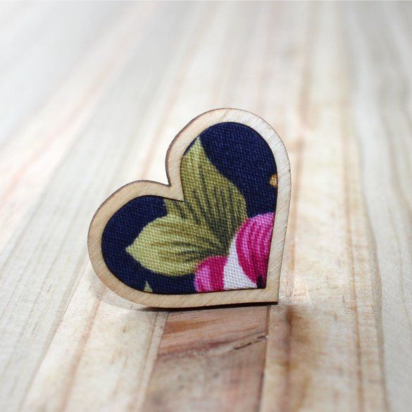 Kosbaar | Heart Ring | Timber & fabric inlay | Navy background with large pink floral pattern | Handmade in Cape Town, South Africa