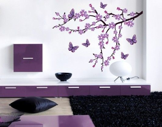get this wonderful wall tattoo lilac blossom branch in one. Black Bedroom Furniture Sets. Home Design Ideas