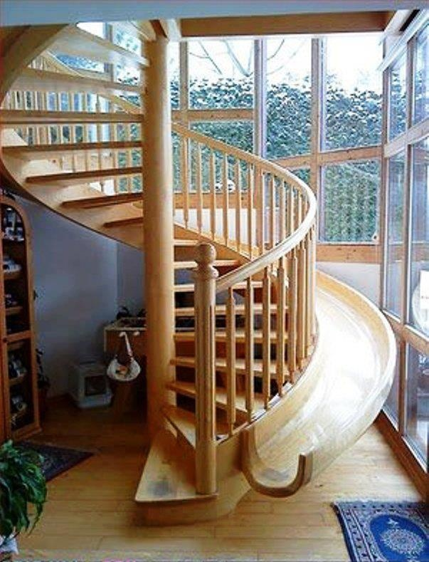 Sliding stairs.