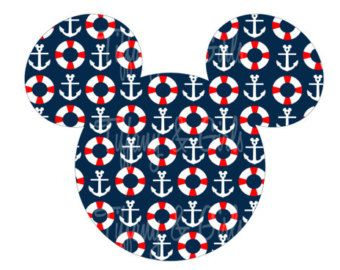 nautical mickey mouse invitations | PRINTABLE Disney Cruise Nautical Mi ckey Magnet or Iron-On ...