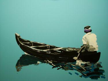 "Saatchi Art Artist Wojtek Bąbski; Painting, ""Boatman"" #art"