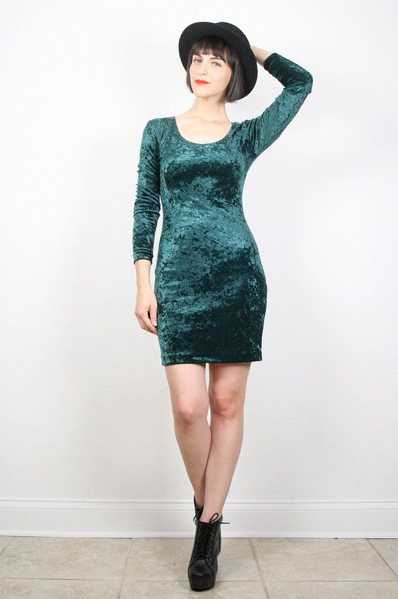 Vintage 90s Dress Grunge Dress Dark Green by ShopTwitchVintage