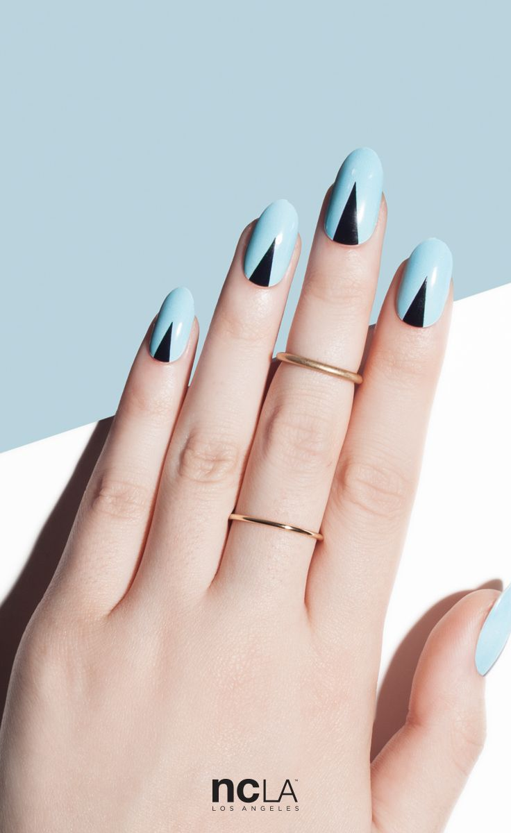 She's Always On Point - Easy nail art via minimal pastel blue and black graphic detail