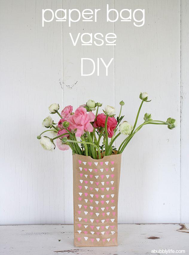 #DIY Paper Bag Flower Vase