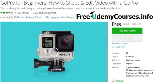 [#Udemy 100% Off] #GoPro for Beginners: How to Shoot & Edit Video with a GoPro   About This Course  Published 11/2015English  Course Description  You have a GoPro and now need to learn how to shoot with it and then edit great videos right?  It's so great to have you here. WELOVEGOPROS!  This online GoPro course will teach you how to shoot and edit amazing videos with a GoPro camera.  This course is designed to teach you the ins and outs of using a GoPro camera even if you have little to no…
