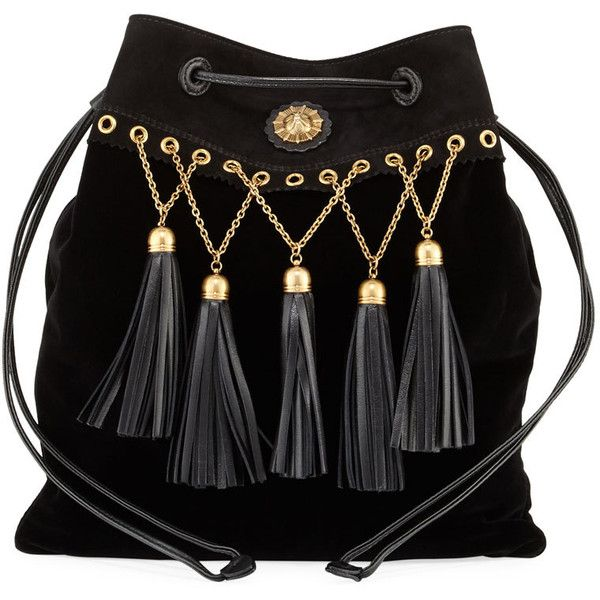 Miu Miu Velvet Tassel Chain Hobo Bag (£1,060) ❤ liked on Polyvore featuring bags, handbags, shoulder bags, accessories, black, sac, handbags hobo bags, drawstring handbags, chain purse and hobo handbags