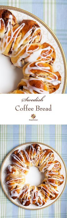 Swedish coffee bread or tea ring, a slightly sweet yeast bread flavored with cardamom, and either braided or made into a wreath-shaped pastry. ~ SimplyRecipes.com