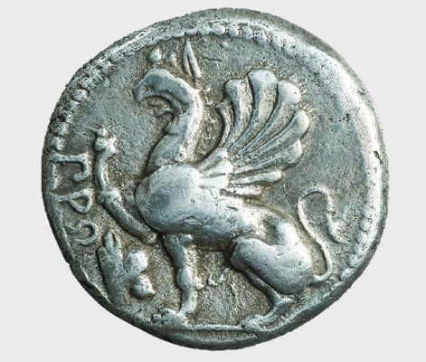 Tetradrachm, 475-450 BC. Griffin. Magistrate: ΠΡΩ (the first syllable of the magistrate's name). Symbol: head of an ox. ΝΜ Empedoklis Collection