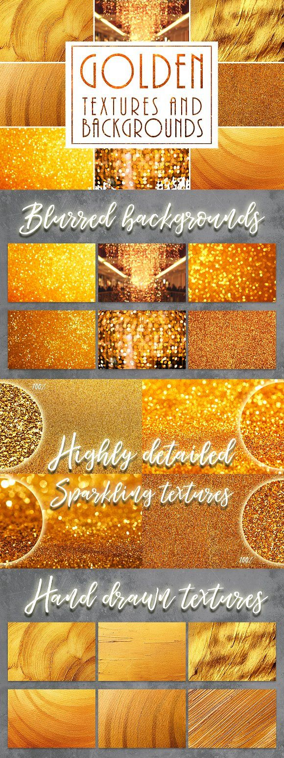 Golden Textures and Backgrounds by Anna Efetova on @creativemarket