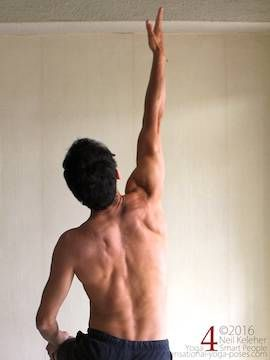 Arm overhead shoulder stretch, reaching one arm up, neil keleher, sensational yoga poses.