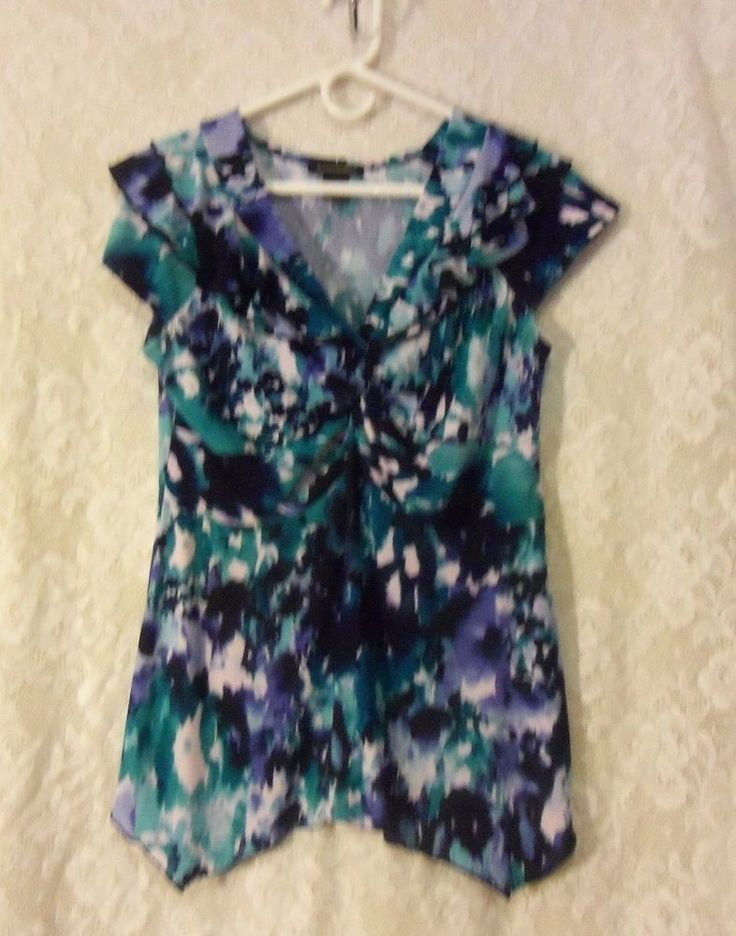 Susan Lawrence summer blouse extra large multi water color print #SusanLawrence #Blouse #Careercasual