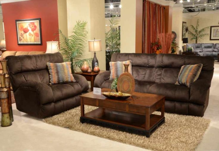 Catnapper - Siesta 2 Piece Power Lay Flat Reclining Sofa Set in Chocolate/Canyon - 61761-S+L-CHOCOLATE