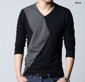 Men 39 s two tone v neck shirt with button details for V neck button up shirt