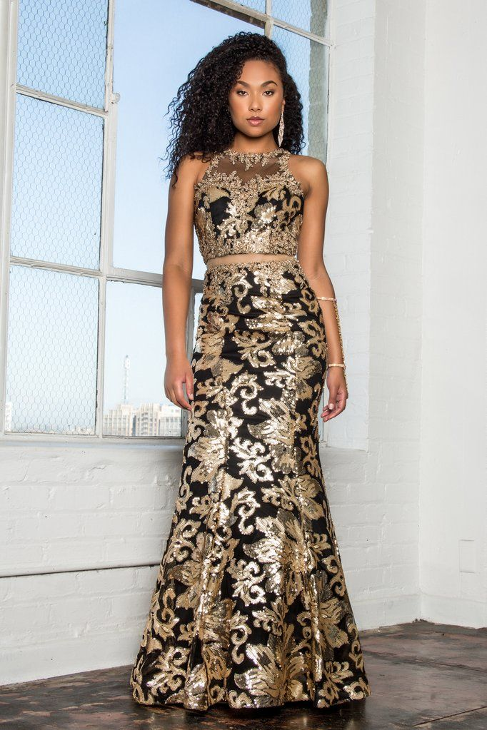 c04fa81dcf5c4 Black gold 2 piece prom dress GLS 2272 in 2019 | Simply Fab Dress-sexy evening  gowns | Prom dresses, 2 piece prom dress, Long sequin dress