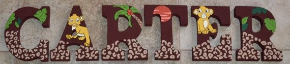 Personalized Wooden Letters for Nurseries and Kids' Rooms - Lion King Simba Theme with Leopard Print, Trees, Baby Animal Print