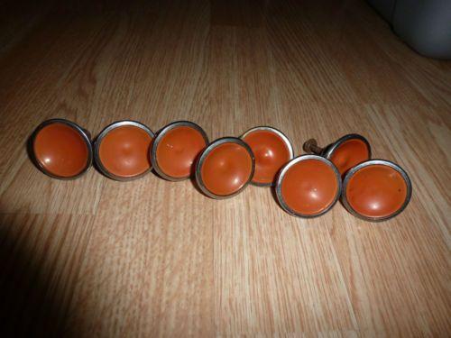 vintage retro burnt orange silver metal drawer cabinet door pulls knobs lot of 8 ebay - Cabinet Door Pulls