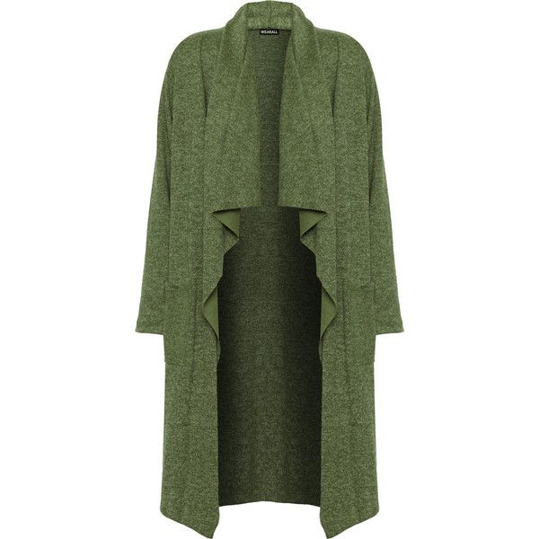 Venita Fleck Knit Waterfall Cardigan (1,620 PHP) ❤ liked on Polyvore featuring tops, cardigans, green, long sleeve cardigan, print top, green top, knit cardigan and long sleeve tops
