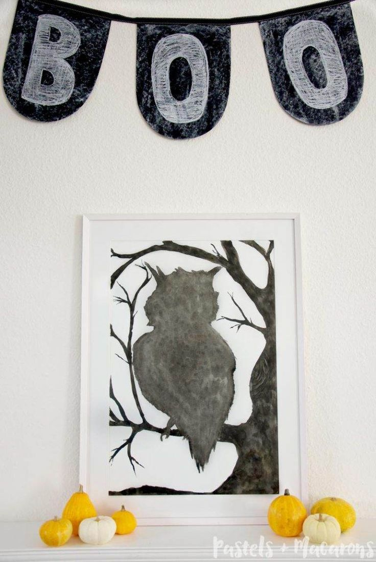 Boo! A simple diy chalk board garland for my Halloween Mantel Decor