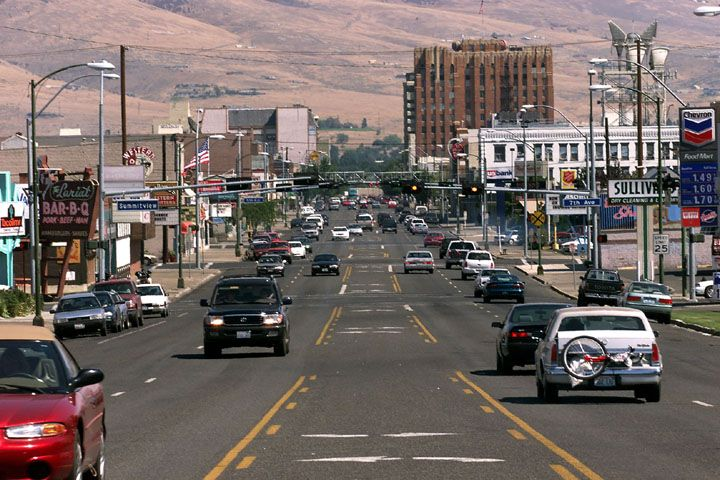 Downtown Yakima, Washington. Notice the color of the hills in the background.