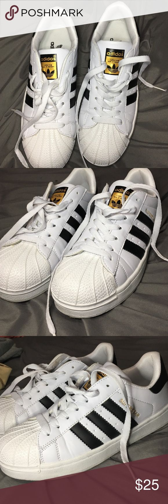 Black and White Superstar Black and white adidas superstar. Bought from ioffer. Probably non-authentic. Adidas Shoes Sneakers