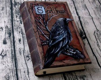 SALE Spellbook Lined Paper 350 Page Blank Book of Shadows Painted Journal