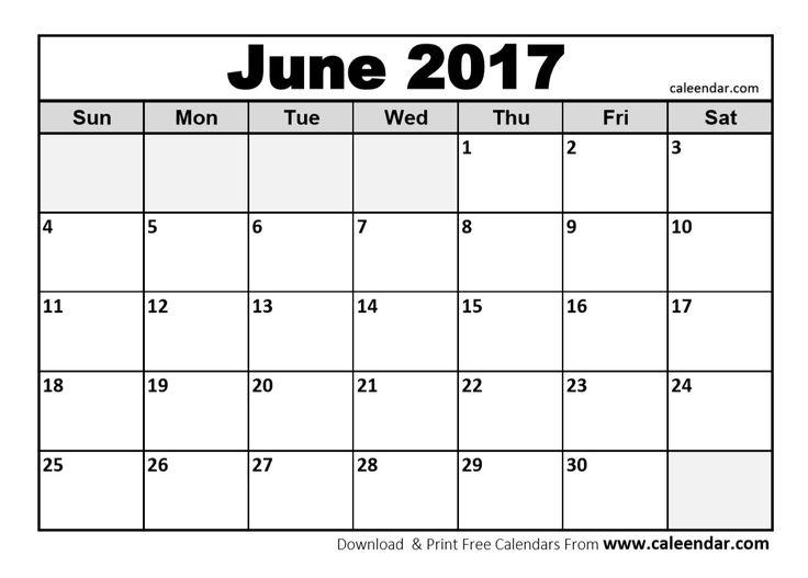 june 2017 calendar to print