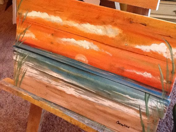 Ocean Beach Scape Pallet Art Nautical Reclaimed Wood