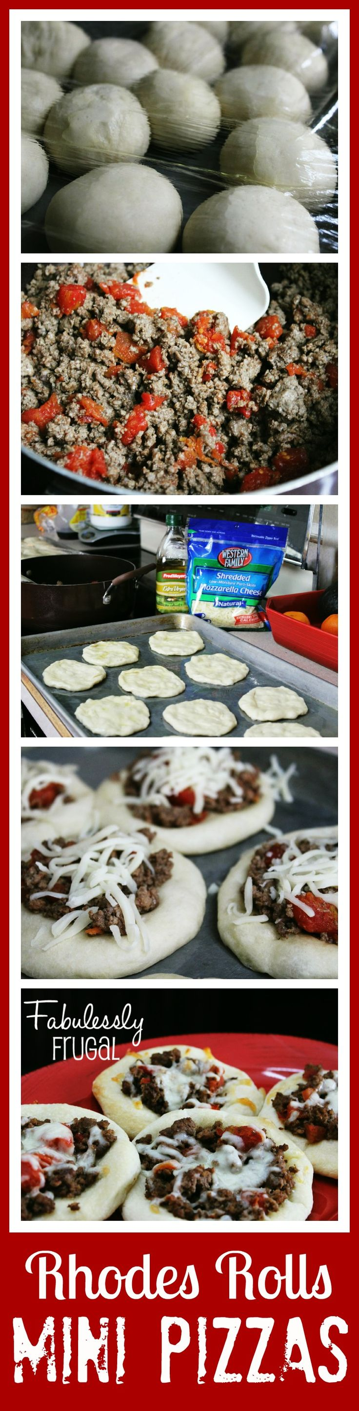 Easy Rhodes Rolls Mini Pizzas.  This is a fun one to prepare with kids!  There are instructions for preparing this as a freezer meal too.