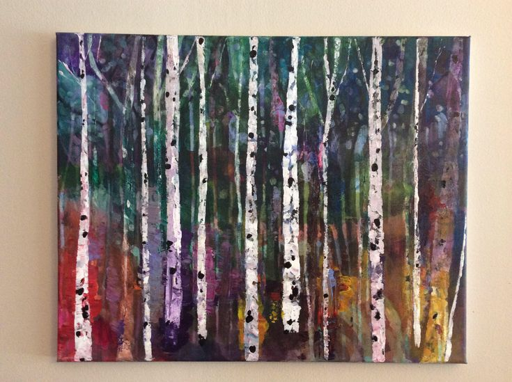 The shape of beauty, 16 x 20 inches original acrylic painting on standard canvas, optional resin finish, colourful birch forest by PaintedAspen on Etsy https://www.etsy.com/ca/listing/585745075/the-shape-of-beauty-16-x-20-inches