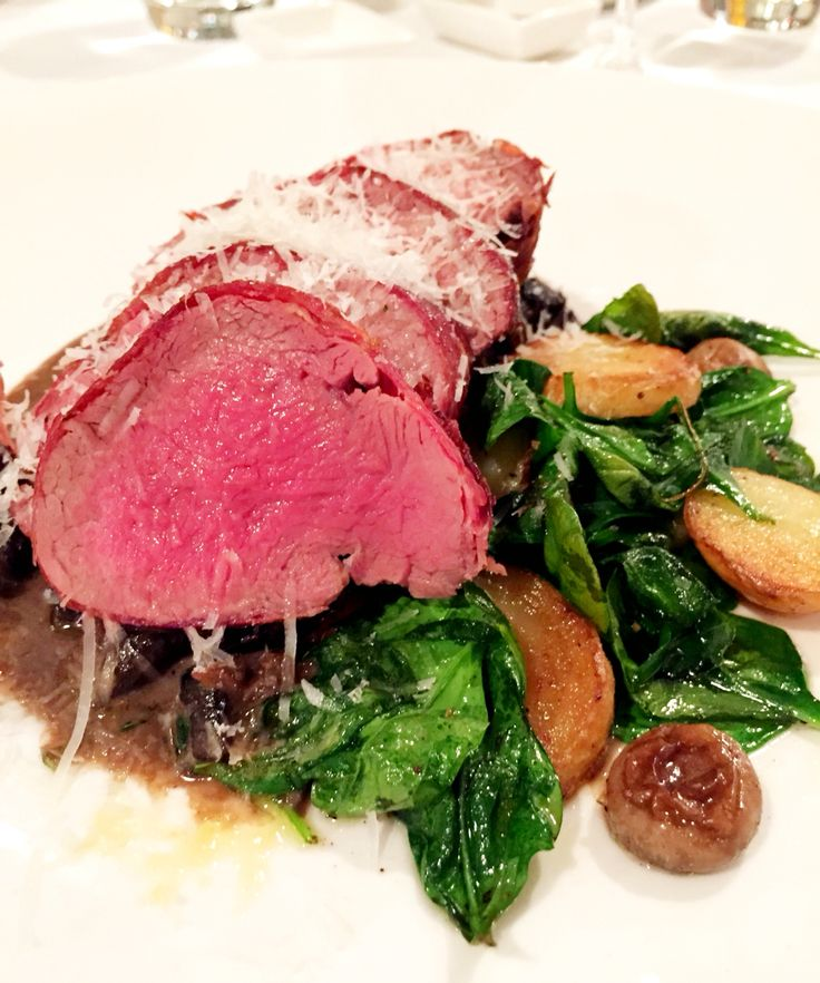 Veal fillet wrapped in prosciutto, chat potatoes, spinach, creamy mushroom ragout