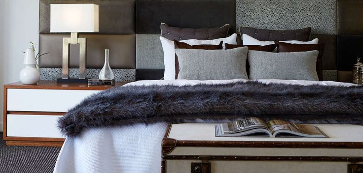 BEDROOM: Earthy grey tones have been used to break the harsh contrasts of black and white. Visit our Scandinavian Lookbook style here: http://www.metricon.com.au/get-inspired/lookbook/scandinavian