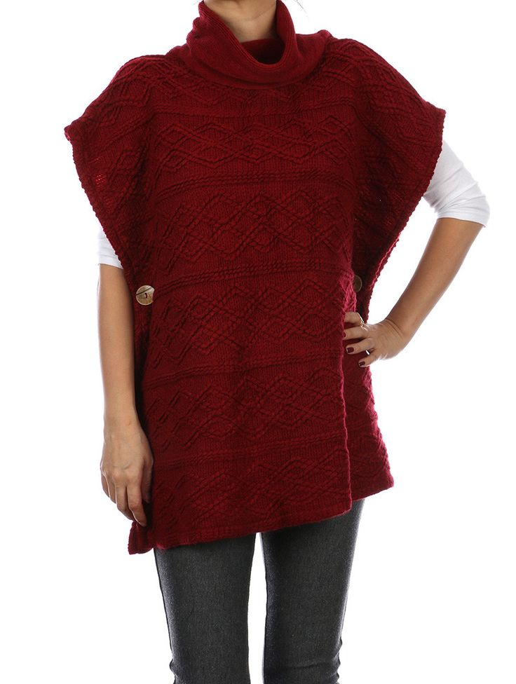 Red knit fringed bottom Poncho With Side Buttons ...