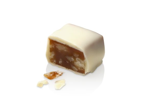 The Tartaruga White. Delicious milk toffee and walnut covered in white chocolate. #lafetechocolat