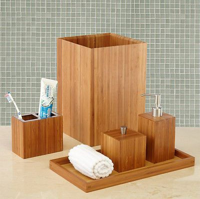 NEW! 5pc Bamboo Bathroom Accessory and Vanity Set Seville Classics Bath Set