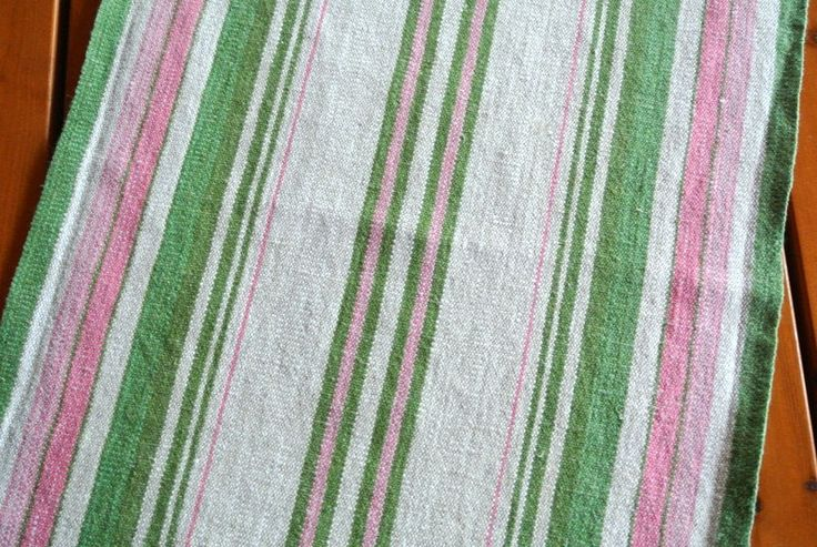 Exellently well done vintage 1980s handmade handwoven pastel green/ pink/ beige linen table-cloth runner with striped pattern by NORDICARTLINENS on Etsy