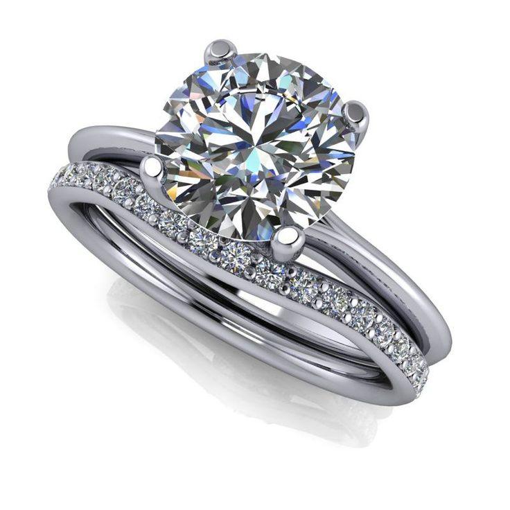 Bridal Set - Diamond Wedding Band - Solitaire Engagement Ring - Celestial Premier Moissanite