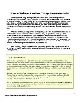 $5 How to Write an Excellent College Recommendation Letter