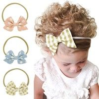 Wish |  Lovely Kid Children Print Floral Fabric Bow Headband Striped Dots Elastic Nylon Hair Band For Baby Girl Headwear