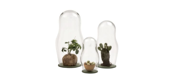 Baba är glaskupor med inspiration från de dekorerade ryska dockorna, Babuschka. Det transparenta glaset ger användaren möjlighet att dekorera dockorna själv, genom att placera ett dekorativt föremål eller en växt inuti. Kuporna fungerar som växthus och lämpar sig för växter som tål hög luftfuktighet. Baba kommer i tre storlekar tillsammans med fat i lackerat stål med mässingsdetalj.